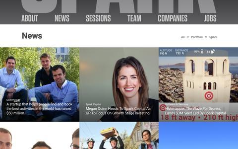 Screenshot of Press Page sparkcapital.com - News | Spark Capital - captured Dec. 1, 2015
