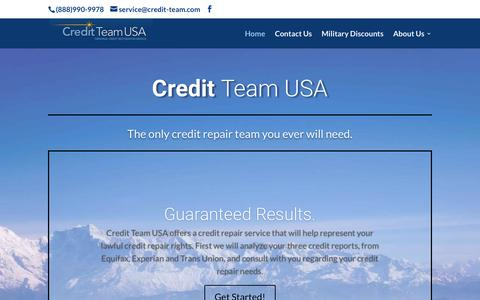 Screenshot of Home Page credit-team.com - Credit Repair - Raise your Credit Score   Credit Team USA - captured July 8, 2018