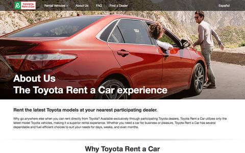 Screenshot of About Page toyota.com - Toyota Rent a Car | About Us - captured Dec. 19, 2016