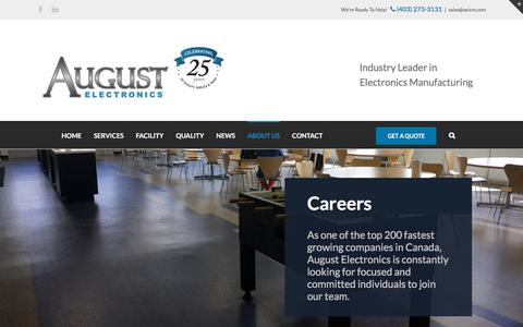 Screenshot of Jobs Page aeicm.com - Careers - captured Oct. 9, 2017