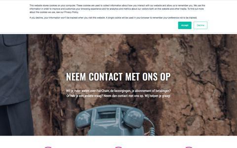 Screenshot of Contact Page moyeecoffee.com - Wil je meer weten over FairChain Coffee? Neem contact met ons op - captured Sept. 20, 2018