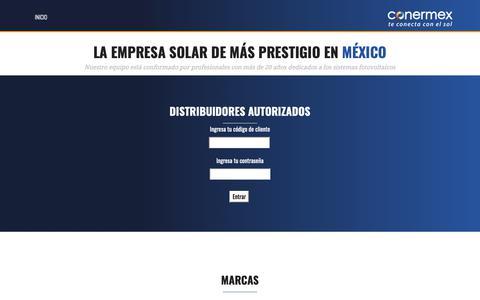 Screenshot of Login Page conermex.com.mx - Conermex | Te conecta con el sol - captured Sept. 29, 2018