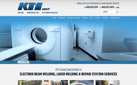 Screenshot of Home Page ktiinc.com - Electron Beam, Laser Beam, & Strip Welding Experts - East Windsor, Connecticut - captured Feb. 12, 2016