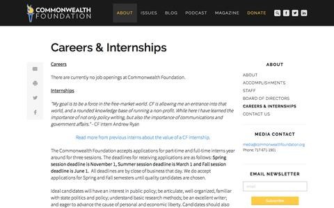 Screenshot of Jobs Page commonwealthfoundation.org - Commonwealth Foundation - Careers & Internships - captured Aug. 16, 2017