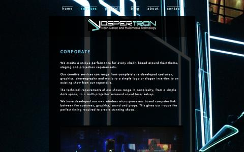 Screenshot of Services Page vospertron.net - Services — Vospertron - captured Oct. 26, 2014