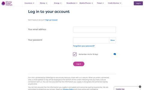 Screenshot of Login Page moneysupermarket.com - Sign In Page - captured Feb. 10, 2020