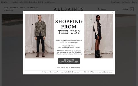 Screenshot of Home Page allsaints.com - ALLSAINTS UK: Store locator and opening times. - captured Aug. 31, 2017