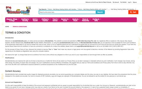 Screenshot of Terms Page wonderkidsindia.com - Terms & Conditions - captured Oct. 3, 2014