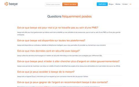 Screenshot of FAQ Page mybeeye.com - Questions fréquemment posées - captured Nov. 23, 2016