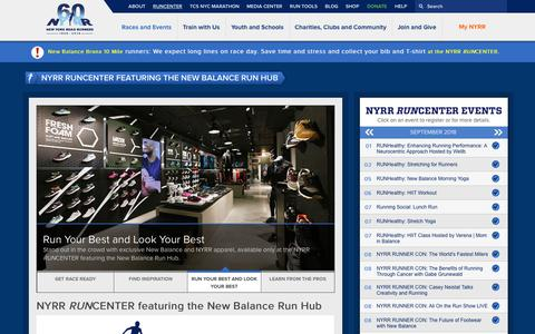 Screenshot of Hours Page nyrr.org - NYRR RUNCENTER featuring the New Balance Run Hub | NYRR - captured Sept. 23, 2018