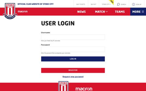 Screenshot of Login Page stokecityfc.com - Log in   Stoke City FC - Official Website of the Potters - latest news, photos and videos - captured Oct. 1, 2018