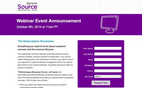 Screenshot of Landing Page servicesource.com - The Subscription Revolution | Webinar - captured Sept. 18, 2018