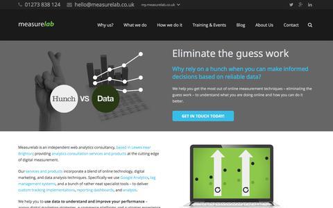 Screenshot of Home Page measurelab.co.uk - Independent Web Analytics Consultancy - Measurelab - captured Jan. 9, 2016