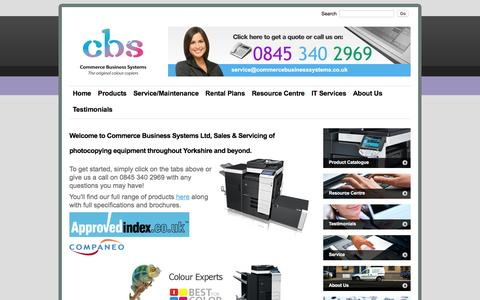 Screenshot of Home Page commercebusinesssystems.co.uk - Commerce Business Systems | Office Printers | Photocopiers | IT Services | Bradford - captured Jan. 30, 2016