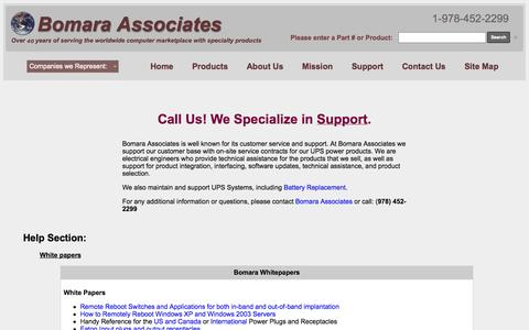 Screenshot of Support Page bomara.com - Bomara Associates: Sales, Service, Support & Battery Replacement - captured Oct. 5, 2014
