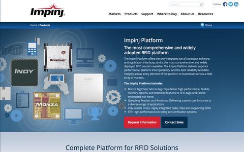 Screenshot of Products Page impinj.com - Impinj Platform | Impinj - captured Oct. 30, 2014