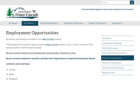 Screenshot of Jobs Page sd78.bc.ca - Employment Opportunities – Fraser Cascade School District 78 - captured Oct. 2, 2018
