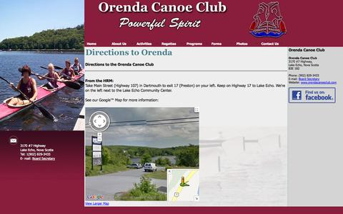 Screenshot of Maps & Directions Page orendacanoeclub.com - Orenda Canoe Club - Directions - captured Oct. 7, 2014