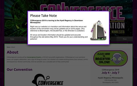 Screenshot of About Page convergence-con.org - About | CONvergence Convention - captured Nov. 7, 2018