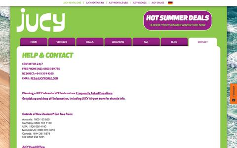 Screenshot of Contact Page FAQ Page jucy.co.nz - HELP & CONTACT - captured Feb. 1, 2018