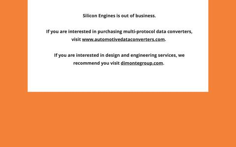 Screenshot of Home Page siliconengines.net - Silicon Engines   Electronic Design Engineering   Data Converters - captured Oct. 18, 2018