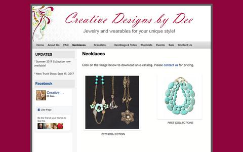 Screenshot of Products Page creativedesignsbydee.com - Necklaces - Creative Designs by Dee - captured Jan. 19, 2018