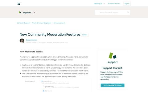 Screenshot of Support Page zendesk.com - New Community Moderation Features  – Zendesk Support - captured Feb. 27, 2017