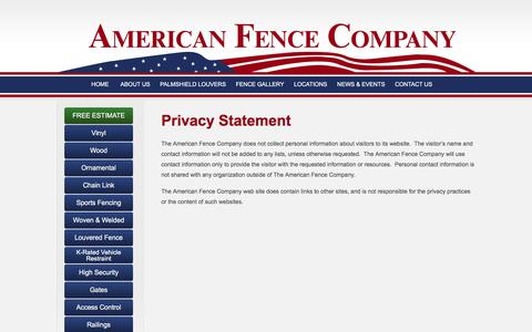 Screenshot of Privacy Page theamericanfencecompany.com - Privacy Statement - The American Fence Company - captured Feb. 6, 2016