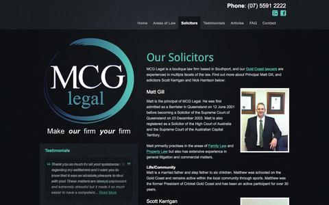 Screenshot of Team Page mcglegal.com.au - Our Lawyers | Gold Coast - MCG Legal - captured Dec. 18, 2015
