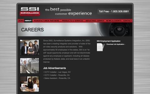 Screenshot of Jobs Page ssicctv.com - Surveillance Systems Integration   Careers - captured Nov. 5, 2014