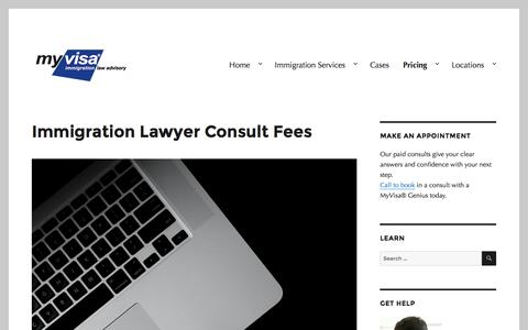 Screenshot of Pricing Page myvisa.com.au - Immigration Lawyer Consult Fees - MyVisa® - captured Dec. 17, 2016
