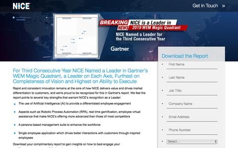 Screenshot of Landing Page nice.com - NICE Named a Leader in the Gartner Magic Quadrant for Workforce Engagement - captured Aug. 16, 2019