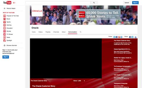 Screenshot of YouTube Page youtube.com - Oracle  - YouTube - captured Oct. 26, 2014