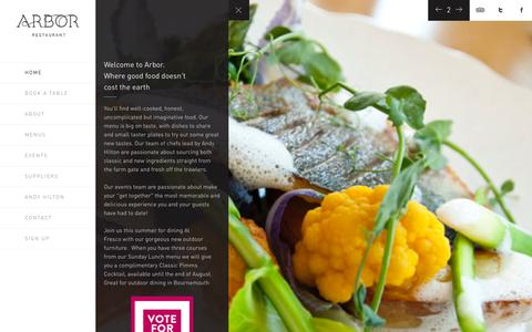 Screenshot of Home Page arbor-restaurant.co.uk - Arbor Restaurant | Restaurant In Bournemouth | Dorset Restaurant Arbor Restaurant - captured Sept. 25, 2014