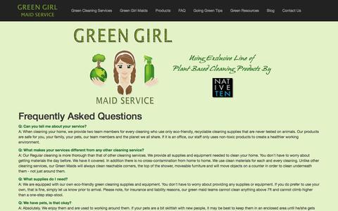 Screenshot of FAQ Page greengirlco.com - About Green Girl Maid Service - Serving Orange County, California - captured Sept. 20, 2017