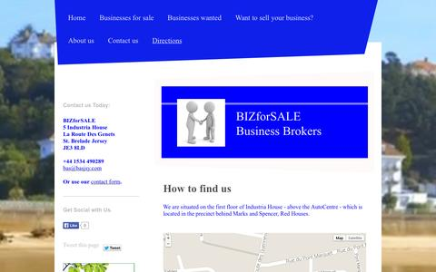 Screenshot of Maps & Directions Page bizforsale.org.uk - Directions - BIZforSALE Jersey Channel Islands buy and sell businesses in Jersey Channel Islands - captured Sept. 30, 2014
