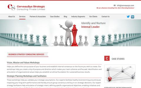 Screenshot of Services Page cerveausys.com - Business Strategy Consulting Services and Initiatives - captured Sept. 27, 2018
