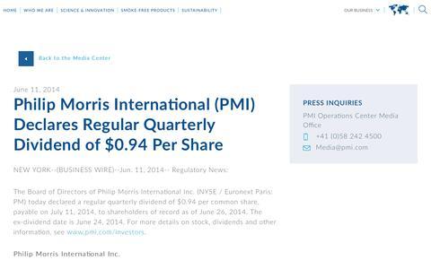 Screenshot of Press Page pmi.com - Philip Morris International (PMI) Declares Regular Quarterly Dividend of $0.94 Per Share - captured Nov. 1, 2018