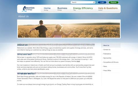 Screenshot of About Page bordgaisenergy.ie - Bord Gáis Energy - About Us - captured Sept. 23, 2014