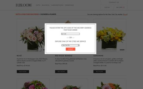 Screenshot of Products Page hbloom.com - H.BLOOM:      Send Flower Gifts - captured July 7, 2016