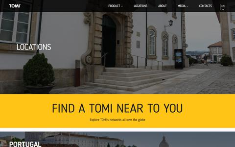 Screenshot of Locations Page tomiworld.com - TOMI Locations - Explore TOMI's locations and networks all over the globe - captured Sept. 21, 2018