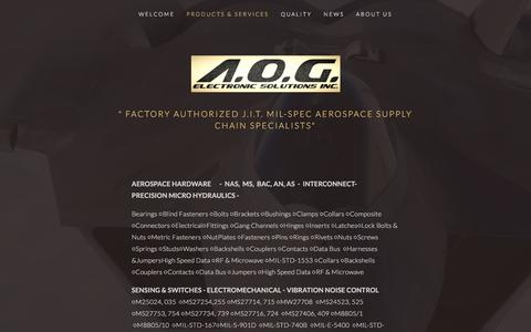 Screenshot of Menu Page aogelectronics.com - PRODUCTS & SERVICES — A.O.G. ELECTRONIC SOLUTIONS, INC. - captured Nov. 16, 2016