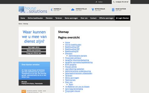Screenshot of Site Map Page houseofsolutions.nl - Sitemap - House of Solutions - captured Oct. 3, 2014