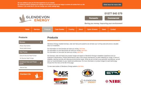 Screenshot of Products Page glendevonenergy.co.uk - Products | Glendevon - captured May 18, 2017