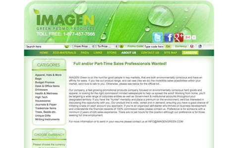 Screenshot of Jobs Page imagengreen.com - Imagen Green Eco-Friendly Promotional Products - captured Sept. 30, 2014