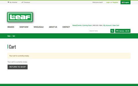 Screenshot of Login Page leafbrands.com - Cart   Leaf Brands, LLC - captured Sept. 27, 2018