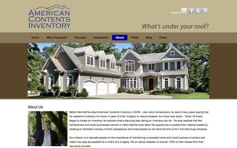 Screenshot of About Page americancontents.com - About - American Contents Inventory - captured Jan. 10, 2016