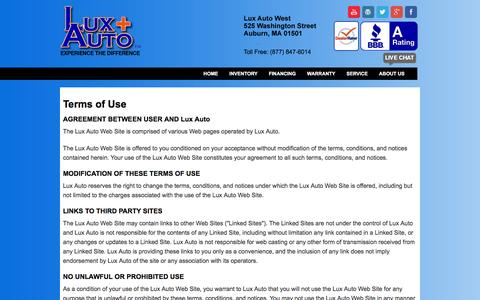 Screenshot of Terms Page luxautoplus.com - Lux Auto - Boston, MA Terms of Use - captured Dec. 14, 2015