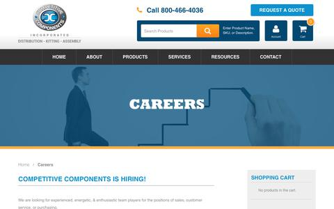 Screenshot of Jobs Page thinkcompetitive.com - Careers - Competitive Components - captured Aug. 19, 2017