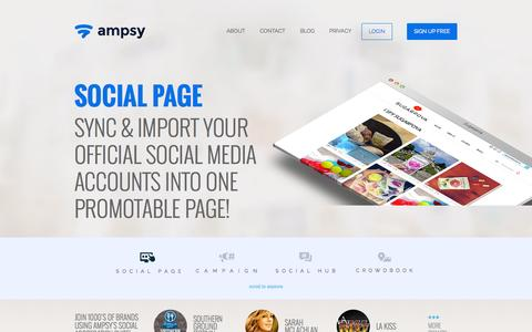 Screenshot of Home Page ampsy.com - Ampsy - Amplify Your Brand with Ampsy's Social Embed Tools! - captured Sept. 17, 2015